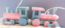 "Set of 2 Toy Old Fashioned Locomotive Train Ornaments Wood 4 x 2.5"" B - $16.40"
