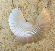 Vintage Hand Carved White Dove with Gold Tone Chain Made from Natural Shell - $22.40