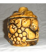 "Vintage Container with Lid  Harvest Gold   5""x4"" Fruit and Flowers Japan... - $18.00"