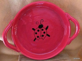 "Red Ceramic Tray with Ladybug and Handles New Creative 9"" Plus Handles - $30.40"