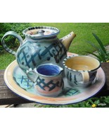 "Unique Pottery Art Piece Tea Set Sculpture 11"" Diameter Signed - $125.40"