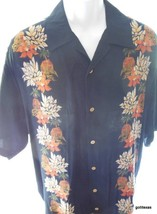 Hawaiian Shirt  Men's Cherokee Flower Garlands and Beach Huts Large L - $24.40