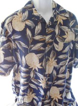 Hawaiian Shirt  Men's Caribbean  Pineapple Large  LSilk Blend - $30.40