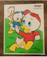 "Vintage Wood Puzzle Playskool Huey Louie and Dewey 10 Pieces 9 x 11.5"" D... - $13.00"