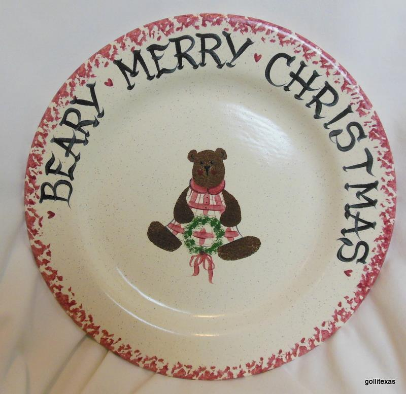 """Vintage Beary Merry Christmas Plate Hand Made and Hand Painted 10"""" - $18.00"""