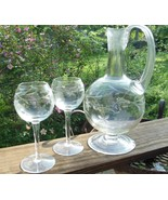 Vintage Footed Decanter with 4 Stemmed Glasses Grape Design Clear - $59.40