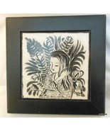 "Framed Hand Painted Tile Girl with Fronds M Junko 6"" Total Size - $32.40"