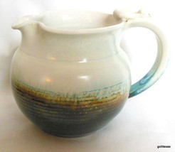 "Vintage Hand Made Hand Glazed Pitcher Creamer  Signed 3.5"" Pot Belly Shape - $15.00"