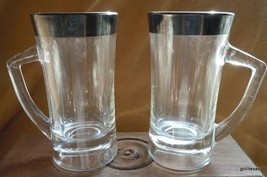 "Vintage Mug Stein SET of 2 Pressed Glass with Silver Trim Unusual 6""  10 oz - $40.00"