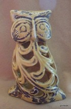 "NEW Antique Yellow Owl Reticulated 8"" Made to Look Old Ceramic - $27.40"