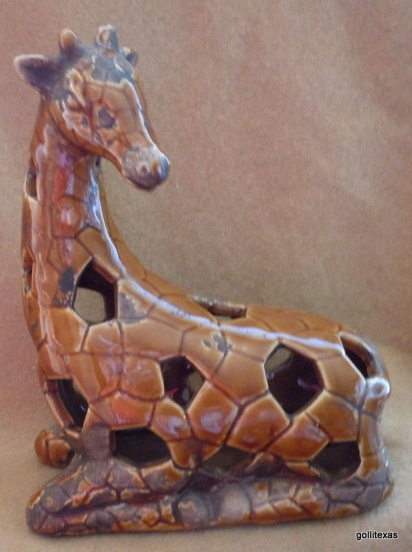 """NEW Ginger Brown Giraffe Reticulated 8"""" Made to Look Old Ceramic"""