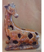 "NEW Ginger Brown Giraffe Reticulated 8"" Made to Look Old Ceramic - $30.40"