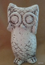 "NEW Off White Owl Candle T-Light Holder 8"" Made to Look Old Ceramic - $27.40"