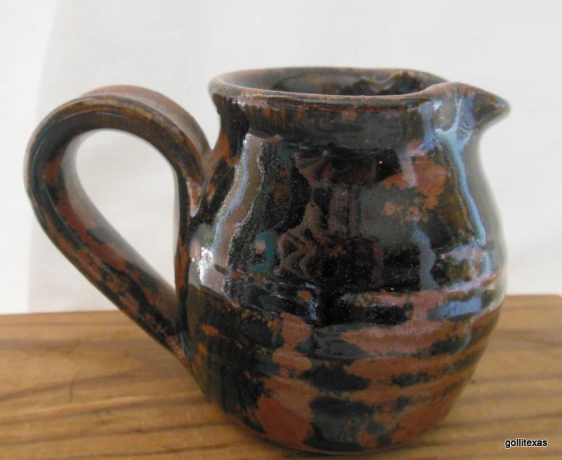 "Primary image for Small Studio Pottery Pitcher Creamer with Black and Brown Glaze 3"" Signed"