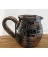 "Small Studio Pottery Pitcher Creamer with Black and Brown Glaze 3"" Signed - $23.40"