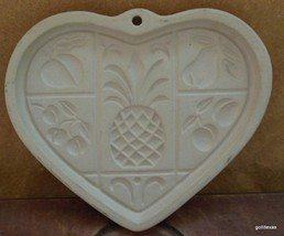 "Pampered Chef Stoneware Cookie Mold ""Hospitality Heart"" 2001 6"" - $24.40"