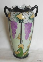 "Very Old Delicate Nippon Ceramic Vase Grape Design Art Deco Hand Painted 7"" - $59.40"
