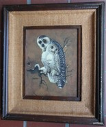 "Vintage Framed Faux Painting Snowy Owls Richard Hinger 17 x 15"" Mid Century - $55.40"