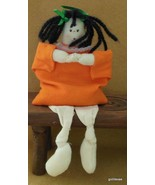 "Bean Stuffed  Folkart Doll Orange Outfit Painted Face 10"" - $14.40"