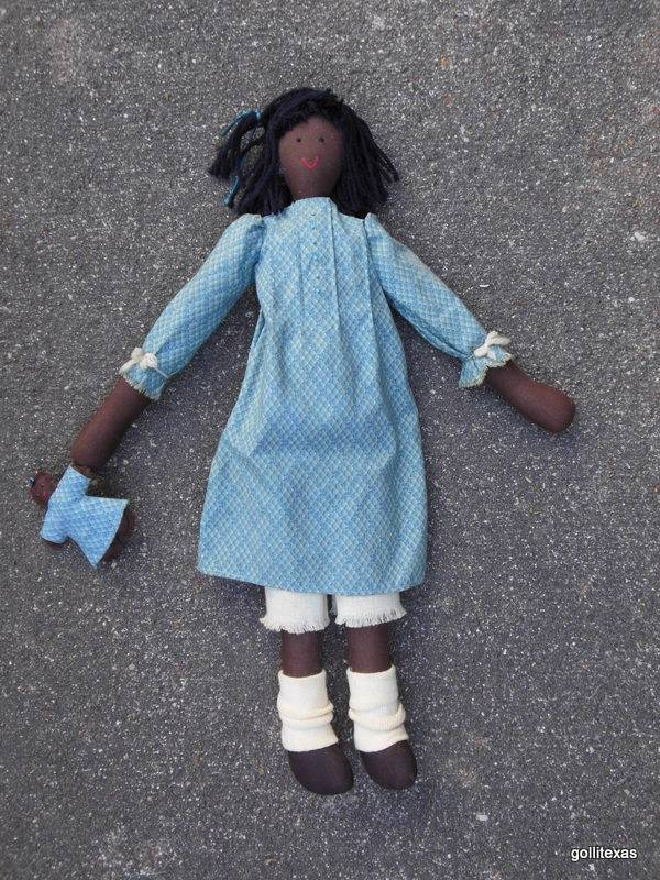 Hand  Made Black Rag Doll with Her Own Little Doll 20""