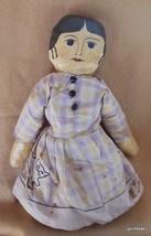 "Hand Made  Primitive Folk Art Doll Cloth 15"" Girl Vintage - $50.40"