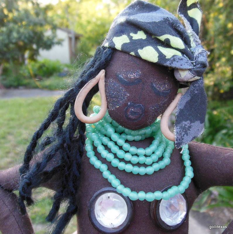 "Hand  Made Black African Dancer Rag Doll  16"" Jacque"