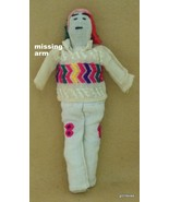 "Vintage Cloth  Doll Embroidered Face 11"" Portugal?  Man With One Arm - $16.40"