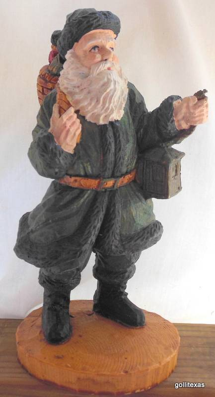 """Old World Santa in Green with Basket of Toys & Lantern Resin Hand Painted 9.5"""" - $28.50"""