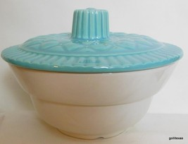 Vintage California Pottery Covered Serve Bowl 3/4 Quart Turquoise Lid - $26.00