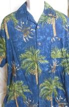 Hawaiian Shirt Joe Marlin X Large  Cotton Blend  Dark with Palms  Short ... - $26.40