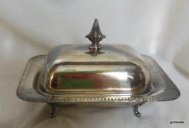 Vintage  Silverplate Butter Dish with Lid on Legs Feet - $32.40