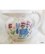 "Hand Painted Pitcher Rabbits and Flowers Portugal? Italy ? 5"" - $24.00"