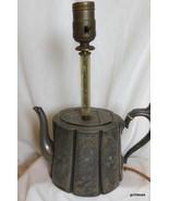 "Very Old Britannia  Metal Tea Pot Lamp 12"" Socket to Base Sparrow - $85.40"