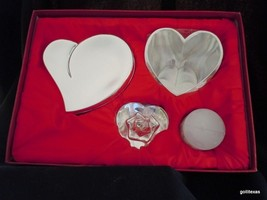 "Set of 3 Silver Plated Heart Pieces in Presentation Box  7 x 10 x 4"" - $15.00"