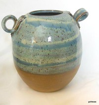 """Vintage A & A Pottery Vase with Turned Handles Beautiful Glaze 7 x 6"""" - $29.00"""