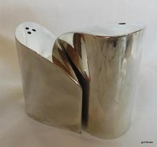 """Silver Plate Salt and Pepper Set Modern 2.5"""" Ta... - $19.00"""