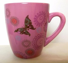 """Rose and Brown Butterfly and Flower Mug Russ 4"""" - $16.00"""