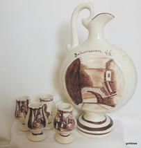 Ceramic Hand Painted Decanter Set El Beso GTO Mexico Flask and 4 Glasses - $45.40