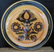 """Small Plate  Stonewear Unknown Back Stamp Folkart Flowers 7.5"""" Set of 2 - $15.00"""