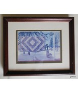 "Framed Print Amish Quilt on Clothes Line Winter Susie Riehl 9 x 11"" Vint... - $39.40"