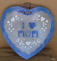 """Hand Made Heart """"I (heart) Mom"""" Pottery Blue and White 8"""" Heavy - $31.94"""