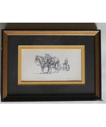 "Framed Print Signed Clark Goff Farmer with Plow and Mules 9.5 x 7"" - $39.40"