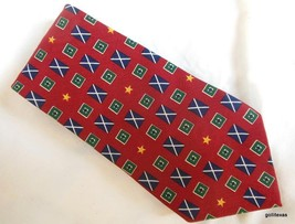 Tommy Hilfiger  Men's Tie Flags on Red Hand Made Silk - $25.40