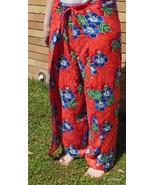 Bright Red Hawaiian Print Thai Fisherman's Pants Yoga Beach Unisex - $20.00