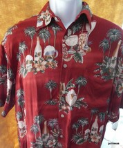 Campia Hawaiian Shirt Men's 100% Rayon Medium Palm Trees and Drinks - $19.40