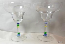 "Set of 2 Martarita Glasses with Hand Painted Stem 7"" Tall 5"" Diameter - $19.00"