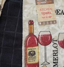 Kitchen Towels, Set of 3, Red Wine Bottle Merlot Bordeaux Design Black image 4