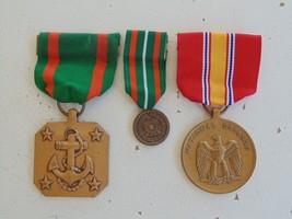 Usmc Fleet & Marine Corps 3 Medal Lot Uscg Nat'l Defense Achievement Full + Mini - $18.80