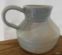 """Studio Pottery Vessel Light Green Glaze 4"""" Signed - $24.40"""
