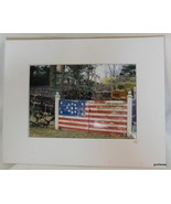 Photograph Matted Patriotic Stars and Stripes Gate Maine Dressel 2007 - $16.40